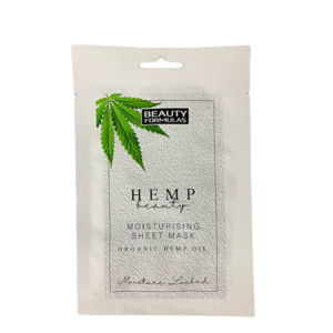 Beauty Formulas Hydratačná pleťová maska s kanabisom Hemp Beauty ( Moisturising Sheet Mask Organic Hemp Oil) 1 ks