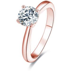 Beneto Ružovo pozlátený strieborný prsteň s kryštálmi AGG201
