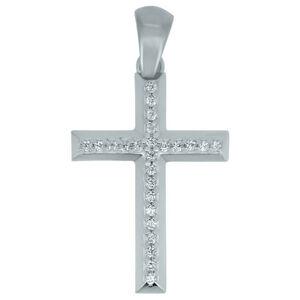 Brilio Prívesok krížik z bieleho zlata CRS177_AU_W