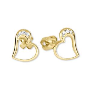 Brilio Zlaté náušnice srdce s kryštálmi 239 001 00772