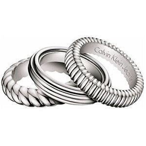 Calvin Klein Sada oceľových prsteňov Waves KJ17AR0101