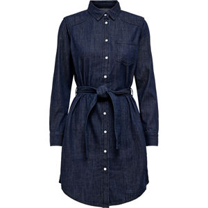 Jacqueline de Yong Dámske šaty JDYESRA LIFE SHIRT DRESS DNM Noosa Dark Blue Denim