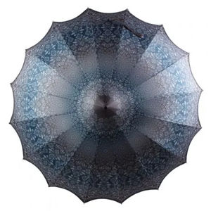 Blooming Brollies Dámsky palicový dáždnik Boutique Patterned Pagoda Umbrella with Scalloped edge Charcoal BCSPA tchao