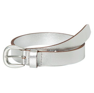 Pieces Dámsky kožený opasok Licia Leather Jeans Belt Silver Colour
