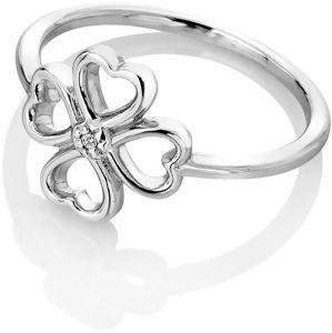 Hot Diamonds Strieborný čtyřlístkový prsteň s diamantom Lucky in Love DR215