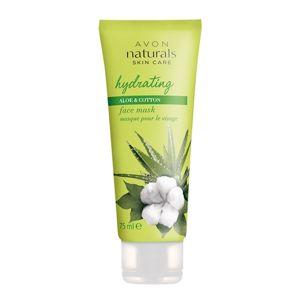 Avon Hydratačná pleťová maska s bavlnou a aloe vera Natura l s (Face Mask Hydration With Cotton And Aloe Vera ) 75 ml