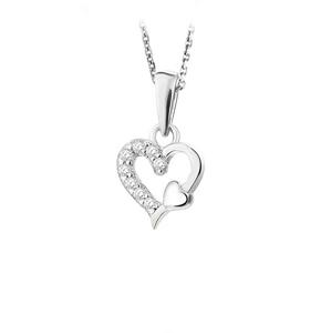 JVD Zamilovaný strieborný prívesok Srdce sa zirkónmi SVLP0536XH2BI00