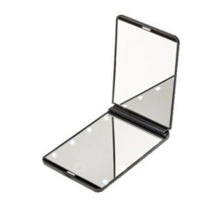 Deveroux Kozmetické vreckové LED čierne zrkadlo MR-L210
