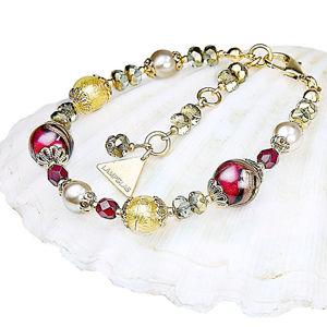 Lampglas Elegantný náramok Red Sea s perlami Lampglas s 24 karátovým zlatom BP25