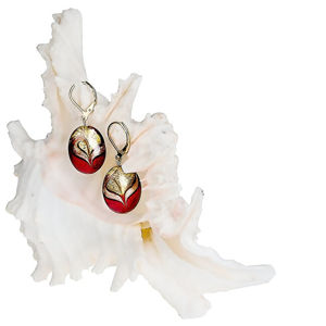 Lampglas Elegantné náušnice Red Sea z perál Lampglas s 24 karátovým zlatom EP25