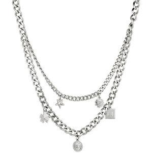 Liu.Jo Dvojitý oceľový náhrdelník s príveskami LJ1299