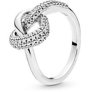 Pandora Strieborný prsteň Prepletené srdce 198086CZ