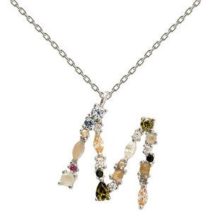 """PD PAOLA Strieborný náhrdelník písmeno """"M"""" sa zirkónmi CO02-108-U (retiazka, prívesok)"""