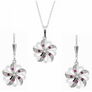 Praqia Prekrásna súprava šperkov s kryštálmi KO2097_NA1035_RH (retiazka, prívesok, náušnice)
