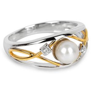 Silver Cat Strieborný prsteň s perlou a kryštály SC151
