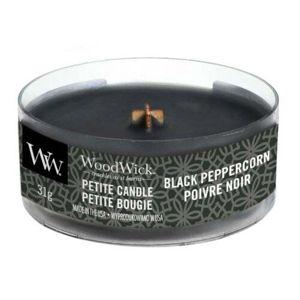 WoodWick Aromatická malá sviečka s dreveným knôtom Black Peppercorn 31 g
